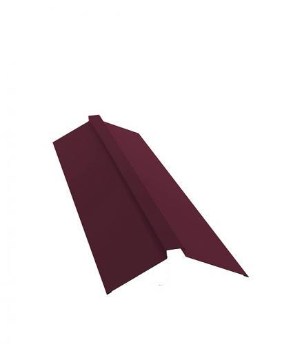 Конек для металлочерепицы плоский с пазом 2м красное вино RAL 3005