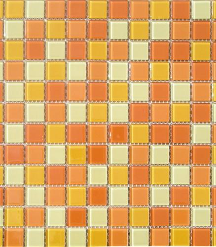 Мозаика стеклянная 327х327х4 мм желто-оранжевый микс на сетке (10 шт=1.07 кв.м)