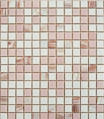 Мозаика из стекломассы 327х327х4 мм бело-розовый микс на сетке (10 шт=1.07 кв.м)