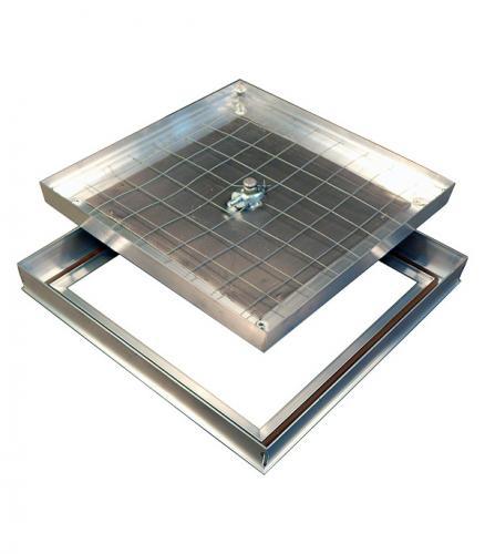 Люк ревизионный Барьер Практика 400х400 мм напольный съемный алюминиевый